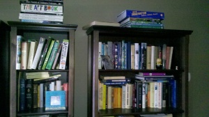 My bookshelves are, once again, spilling over.